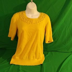Moth anthropologie yellow 1/4 sleeve blouse M
